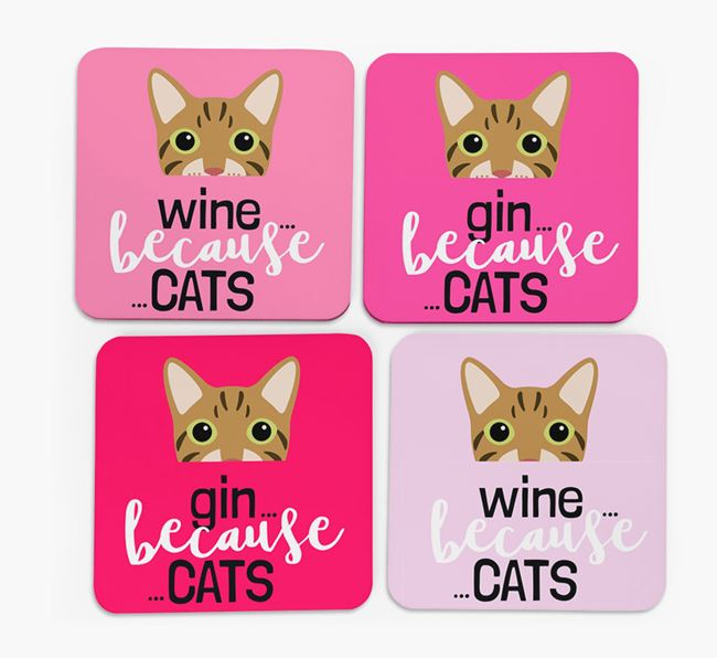 'Wine/Gin Because...Cats' - Personalized Cat Coasters (Set of 4)