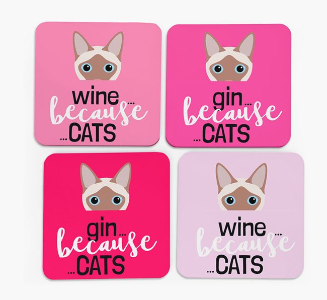 'Wine/Gin Because...Cats' - Personalized Siamese Coasters (Set of 4)