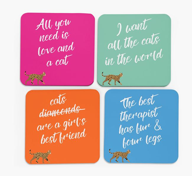 'Ashera Silhouette Quote' - Personalized Coasters (Set of 4)