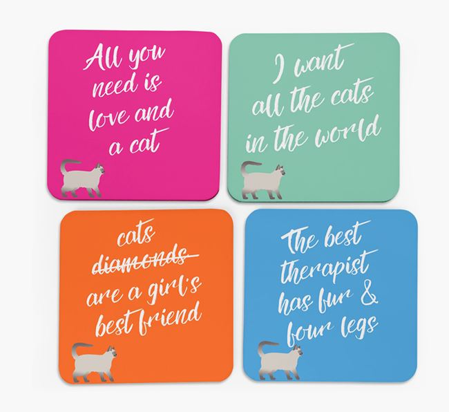 'Balinese Silhouette Quote' - Personalized Coasters (Set of 4)