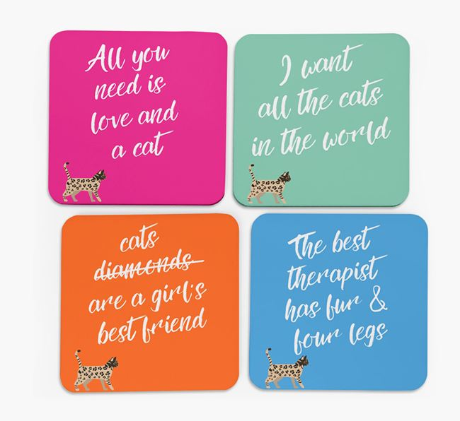 'Bengal Silhouette Quote' - Personalized Coasters (Set of 4)