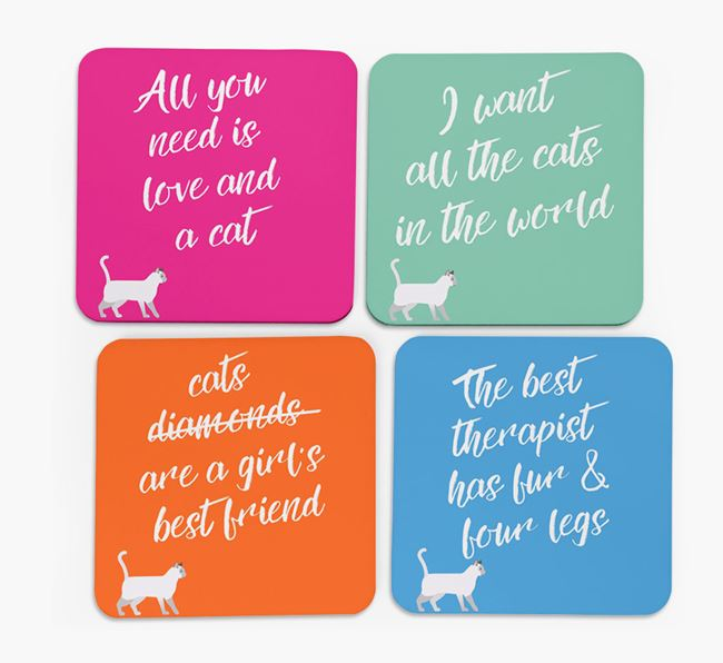 'Siamese Silhouette Quote' - Personalized Coasters (Set of 4)