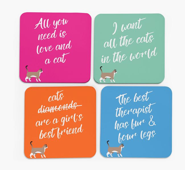 'Cat Silhouette Quote' - Personalized Coasters (Set of 4)