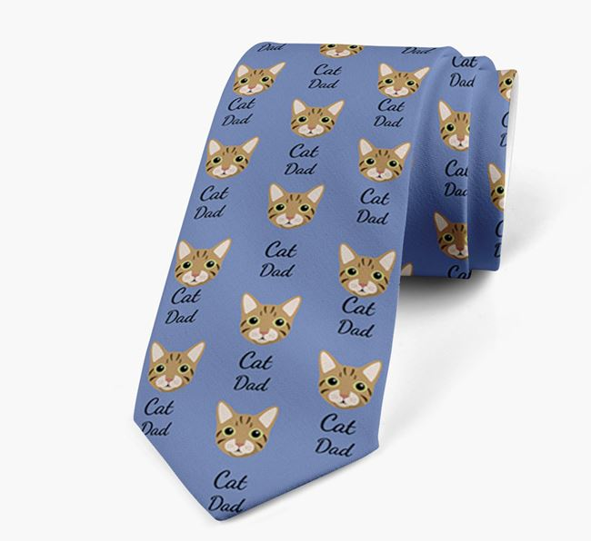 'Cat Dad' - Personalised Neck Tie with Cat Icons