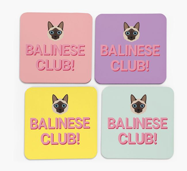 'Balinese Club' - Personalized Coasters (Set of 4)