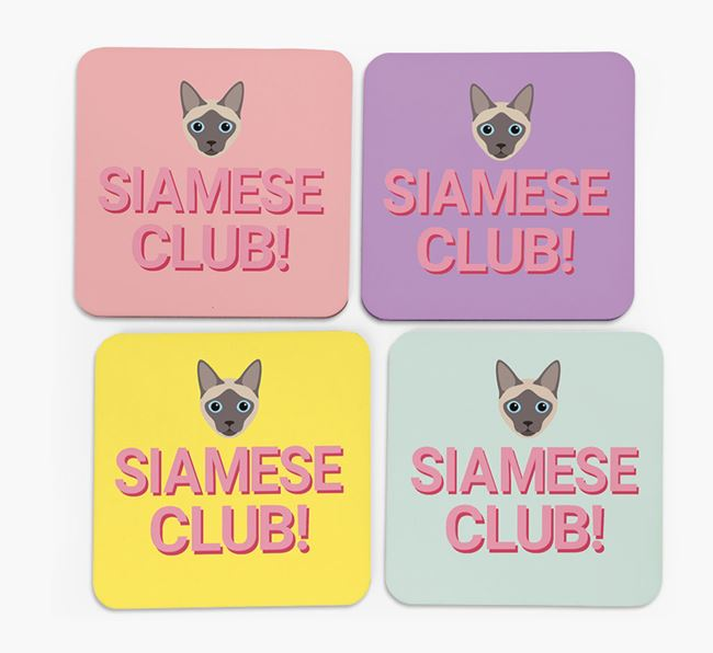 'Siamese Club' - Personalized Coasters (Set of 4)