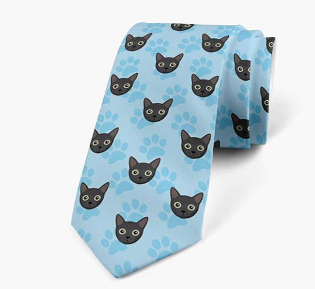 'Paw Print Design' with Cat Icons - Personalised Neck Tie