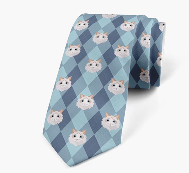 'Plaid Design' with Cat Icons - Personalised Neck Tie