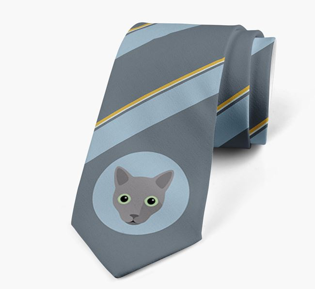'Stripes and Cat Icon' - Personalised Neck Tie
