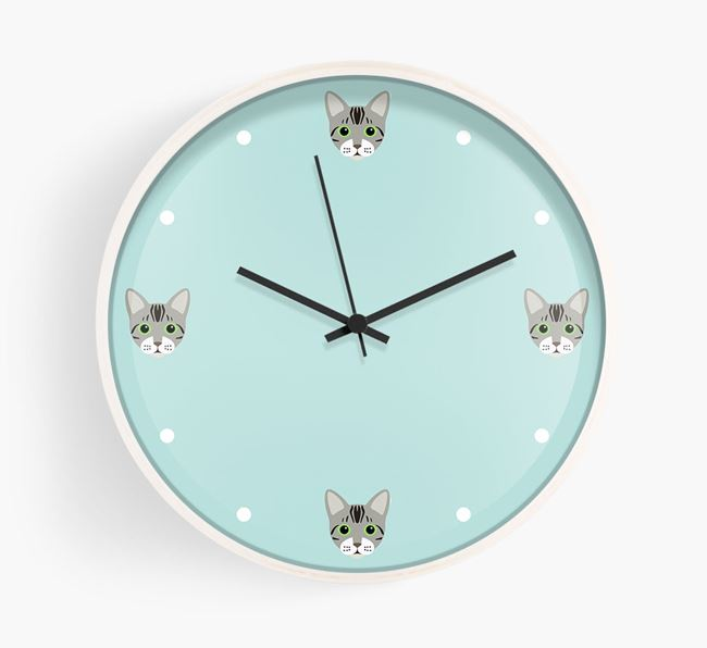'It's Bengal Time' - Personalised Wall Clock with Bengal Icons