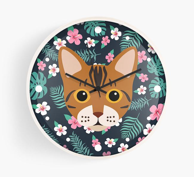 'Floral' - Personalised Wall Clock with Bengal Icon