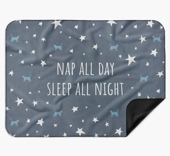 'Nap All Day, Sleep All Night' - Personalised Luxury Cat Blanket