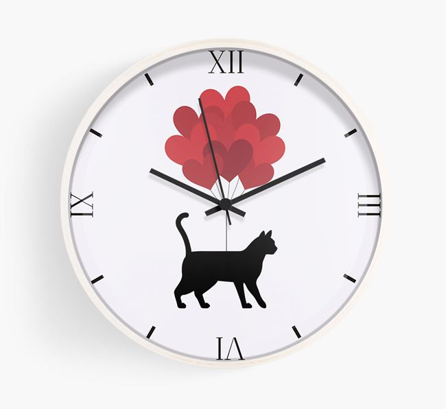 'Heart Balloons' - Personalised Wall Clock with Bengal Silhouette