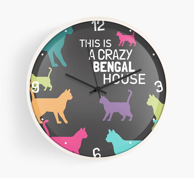 'This Is a Crazy Bengal House' - Personalised Wall Clock