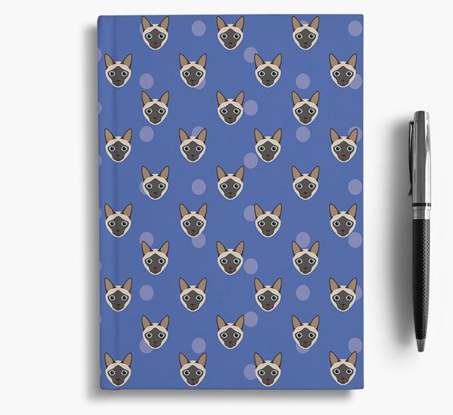 'Siamese Icon Pattern' - Personalized Notebook