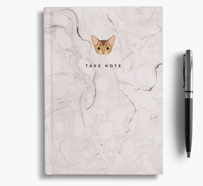 'Take Note' - Personalized Cat Marble Notebook