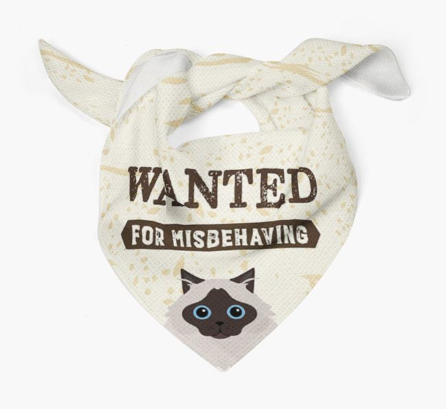 'Wanted for Misbehaving' - Personalized Cat Bandana