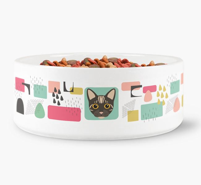 'Abstract Design' - Personalised Cat Bowl for your Bengal