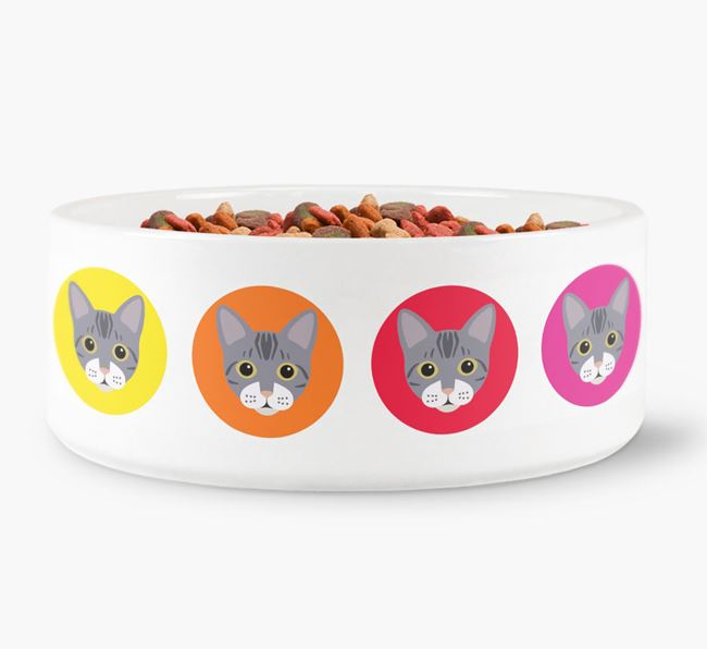 'Colourful Bengal Icons' - Personalised Cat Bowl