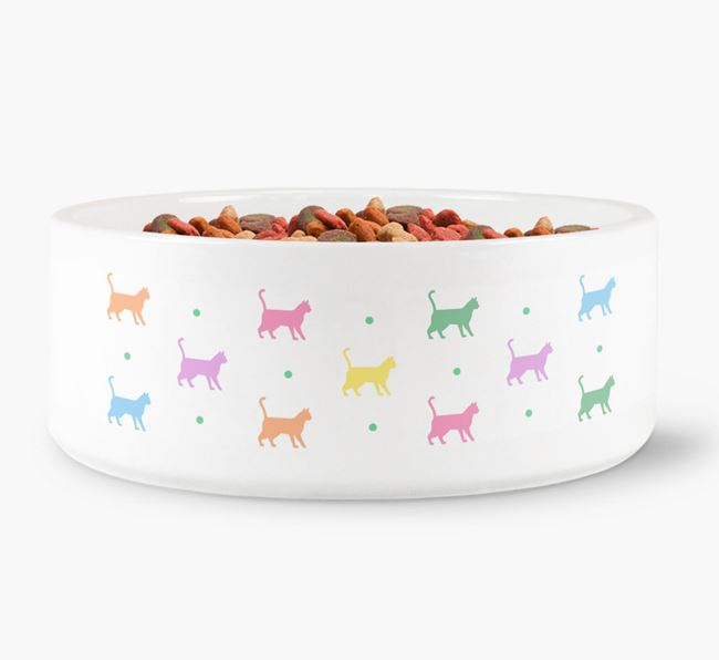 'Colourful Bengal Silhouettes' - Personalised Cat Bowl