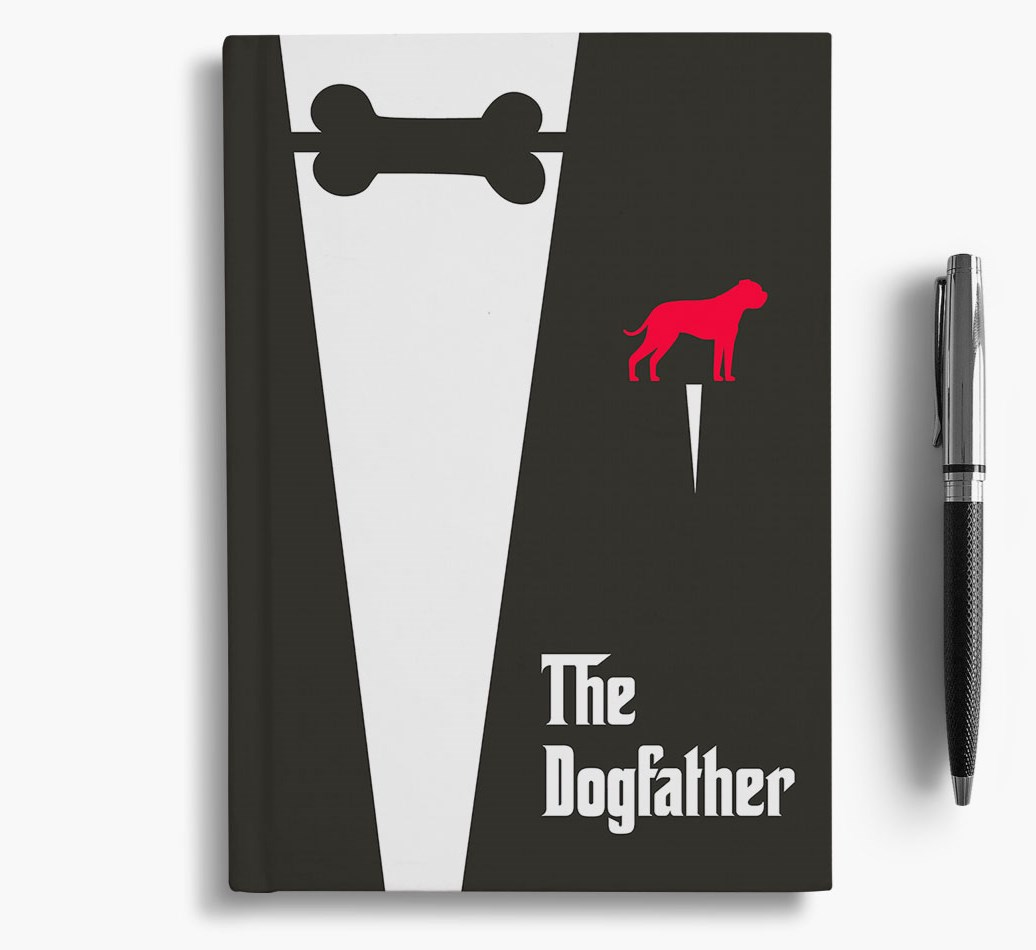 Dogfather Notebook with American Bulldog Silhouette