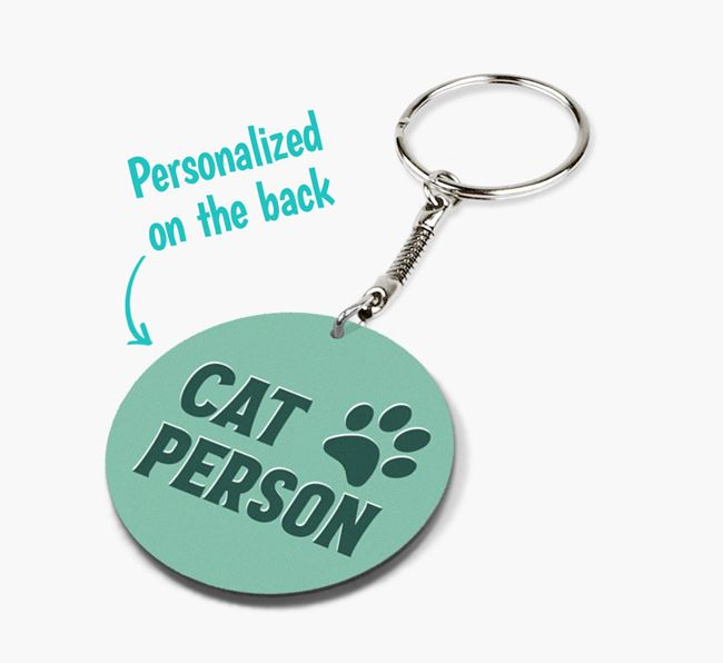 'Cat Person' - Personalized Double-Sided Keyring