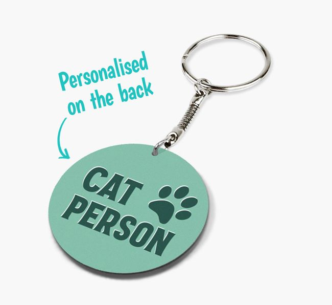 'Cat Person' - Personalised Double-Sided Keyring