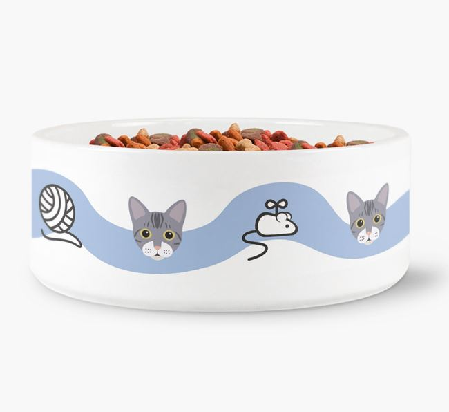 'Bengal Icon and Toy Pattern' - Personalised Cat Bowl