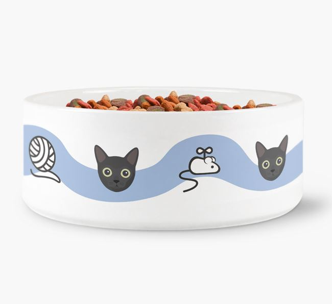 'Cat Icon and Toy Pattern' - Personalised Cat Bowl