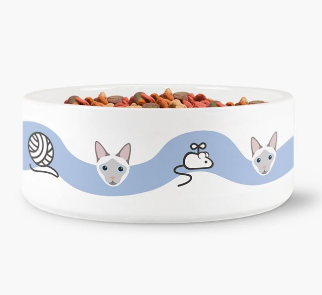 'Siamese Icon and Toy Pattern' - Personalised Cat Bowl