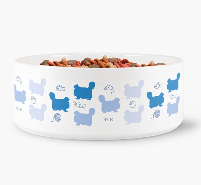 'Cat Silhouette Pattern' - Personalised Cat Bowl