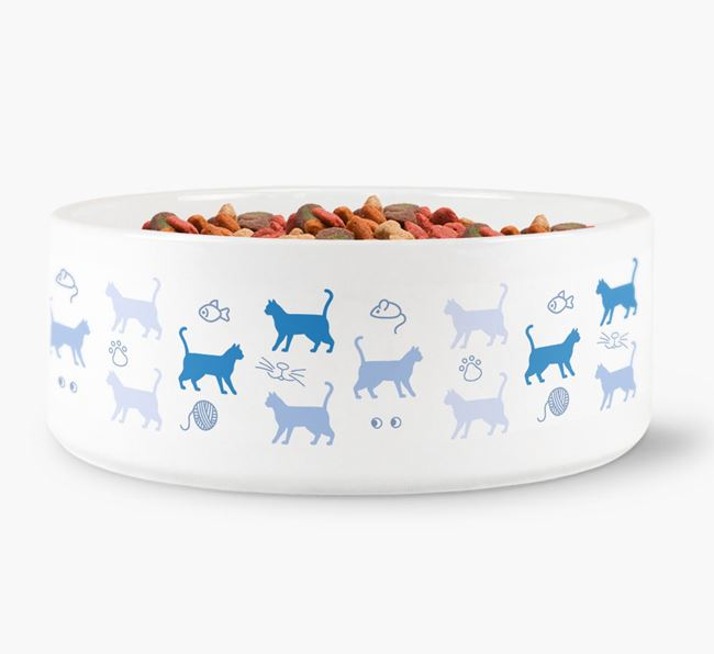 'Siamese Silhouette Pattern' - Personalised Cat Bowl