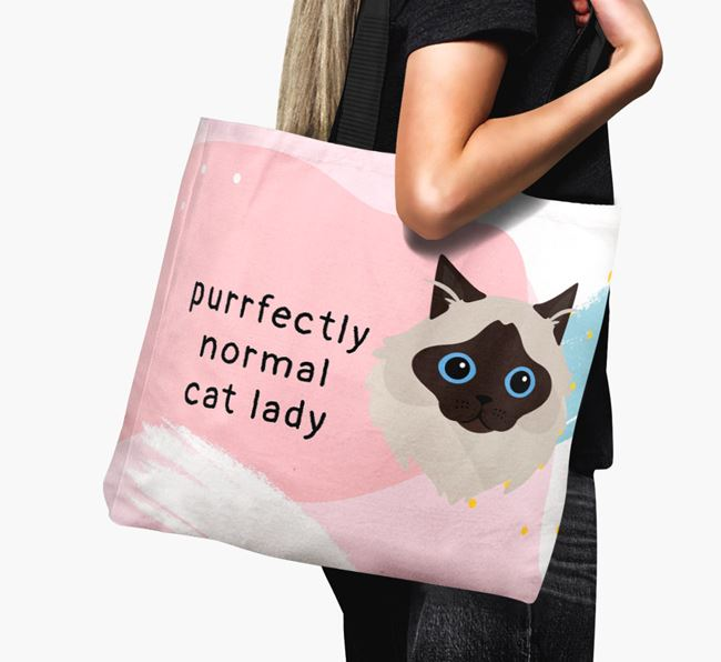 'Purrfectly Normal Cat Lady' - Personalised Cat Canvas Bag