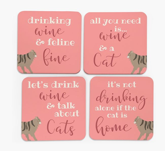 'Drinking Wine Feline Fine' - Personalized Cat Coasters (Set of 4)