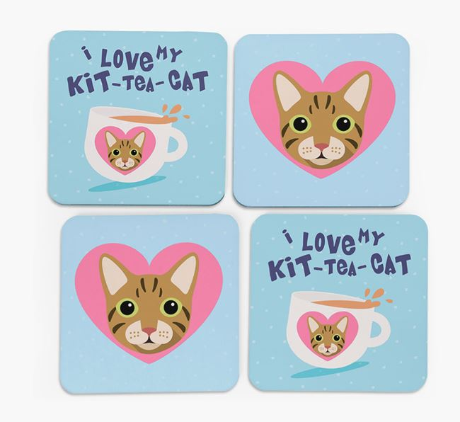 'I Love My Kit-Tea-Cat' - Personalized Cat Coasters (Set of 4)