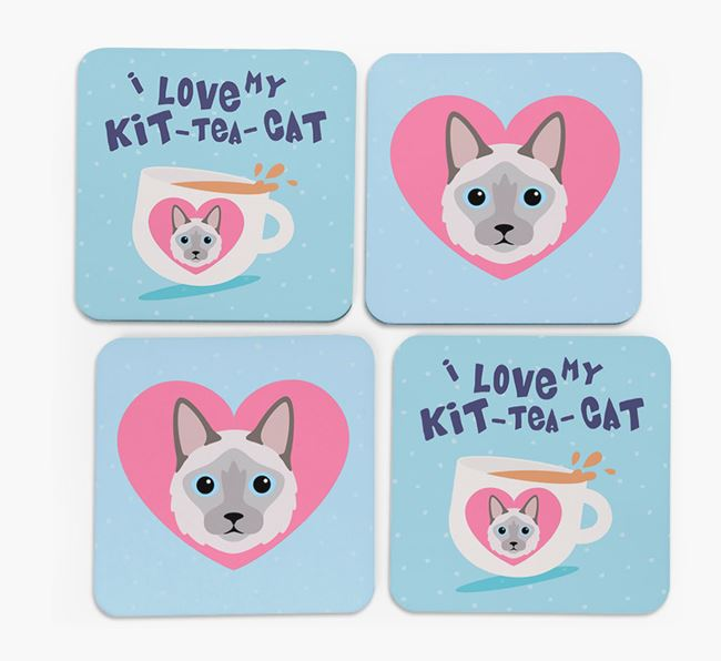 'I Love My Kit-Tea-Cat' - Personalized Balinese Coasters (Set of 4)