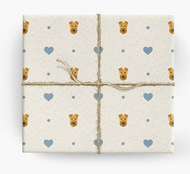 Airedale Icon & Hearts Wrapping Paper