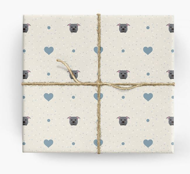 Pit Bull Terrier Icon & Hearts Wrapping Paper