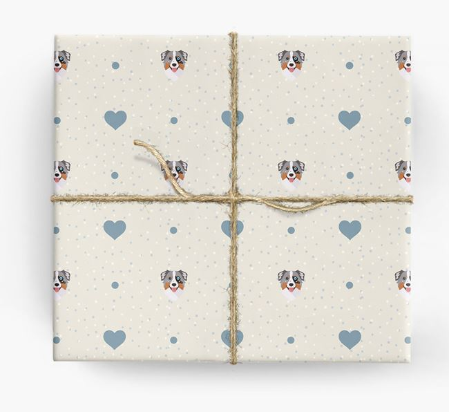Aussie Shepherd Icon & Hearts Wrapping Paper