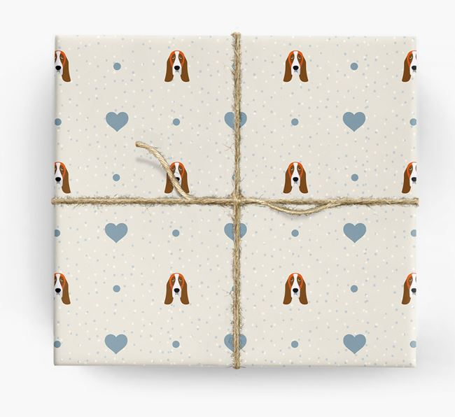 Basset Hound Icon & Hearts Wrapping Paper
