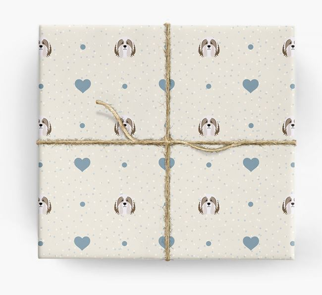 Bearded Collie Icon & Hearts Wrapping Paper