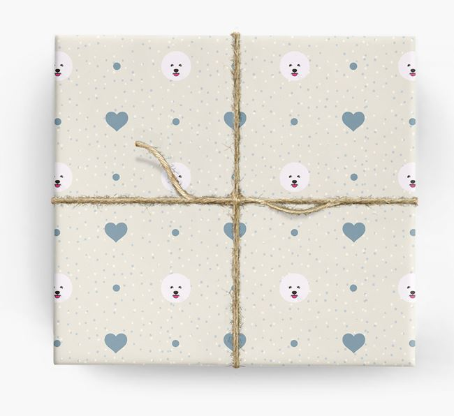 Bichon Frise Icon & Hearts Wrapping Paper