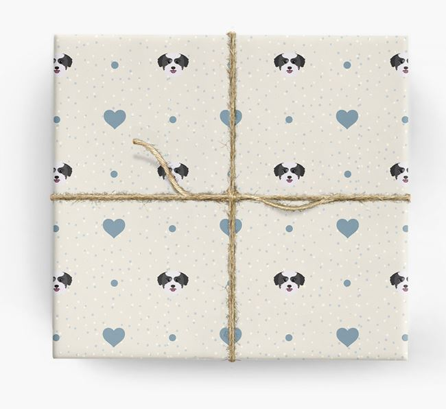 Bichon Yorkie Icon & Hearts Wrapping Paper