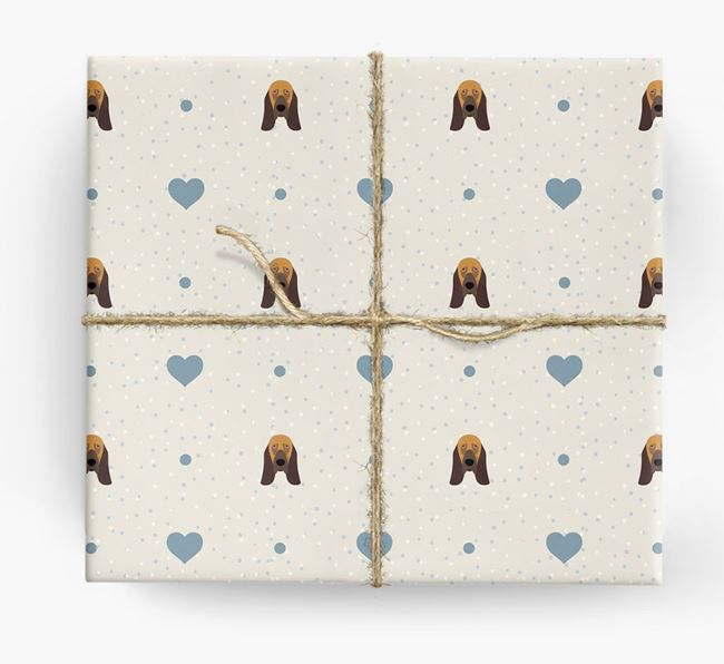 Bloodhound Icon & Hearts Wrapping Paper