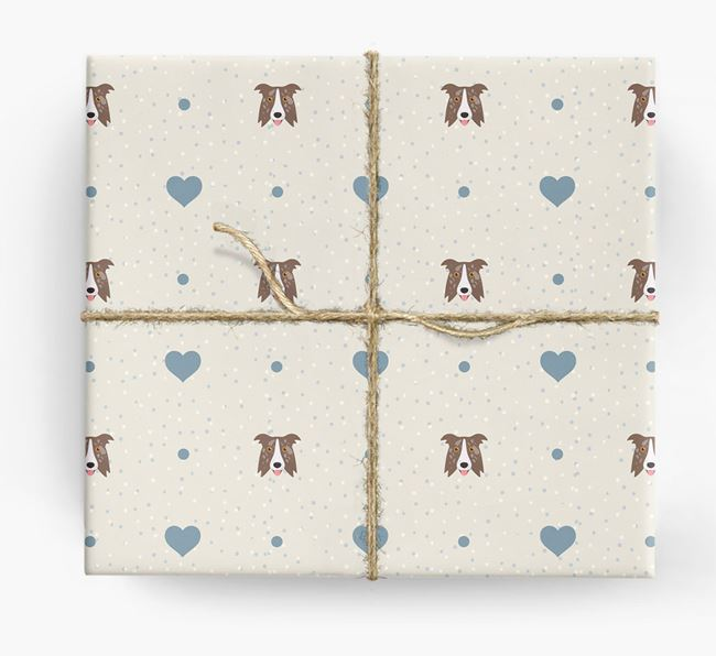 Border Collie Icon & Hearts Wrapping Paper
