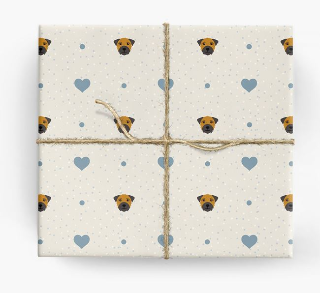 Border Terrier Icon & Hearts Wrapping Paper