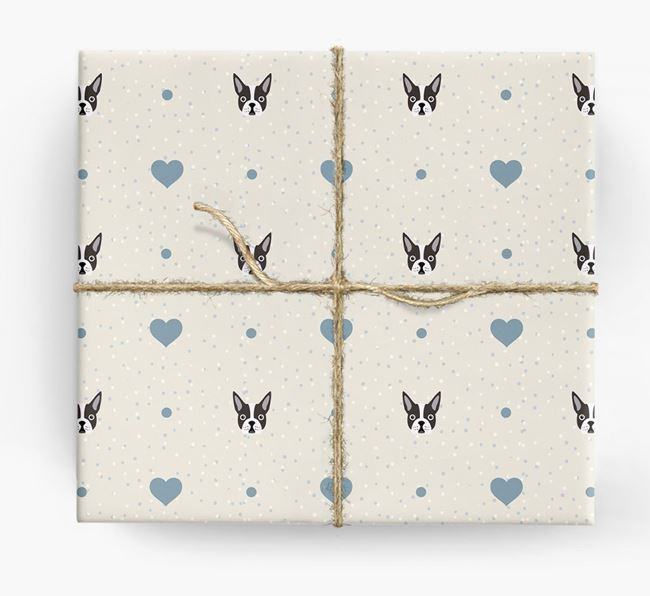 Boston Terrier Icon & Hearts Wrapping Paper
