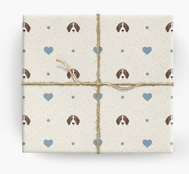 Brittany Spaniel Icon & Hearts Wrapping Paper
