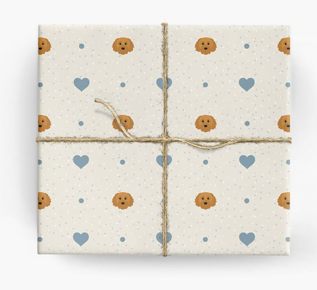 Cavapoochon Icon & Hearts Wrapping Paper