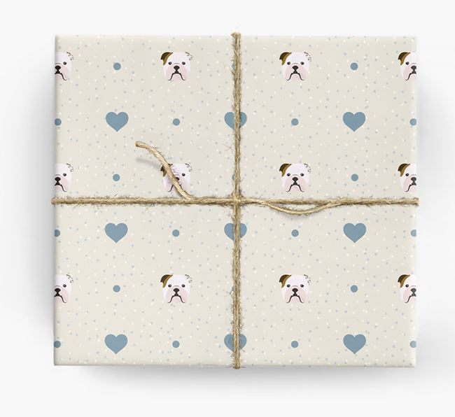 Bulldog Icon & Hearts Wrapping Paper